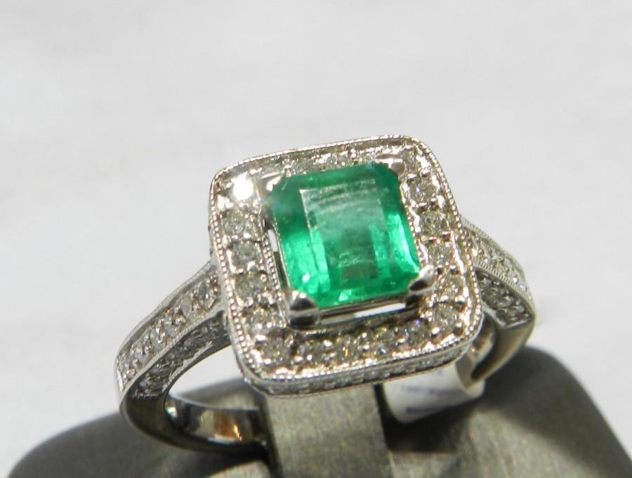 Mariage - Emerald Ring 14K White Gold Emerald Ring Colombian Emerald Ring Unique Engagement Ring Diamond Emerald May Birthstone Antique