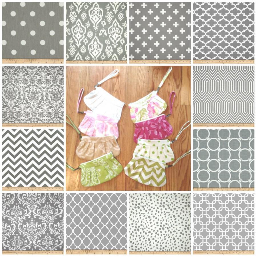 Hochzeit - Grey Mix and Match Wedding Clutches- Bridesmaid Wristlets- - Set of Bridemaid Clutches
