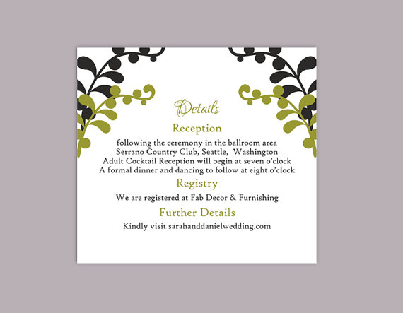 diy wedding details card template editable text word file download printable details card black details card olive green enclosure cards - Wedding Invitation Details Card
