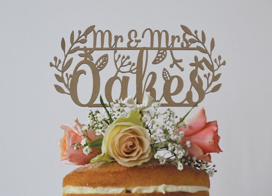 Свадьба - Rustic Woodland Personalised Paper Wedding Cake Topper