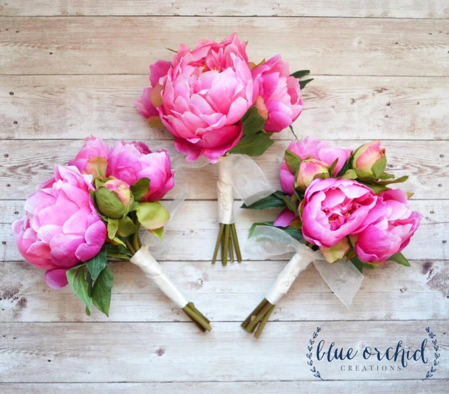 Свадьба - Peony Bridesmaid Bouquet - Hot Pink Peony Bouquet, Pink Bridesmaid Bouquet, Pink Peony Bundle
