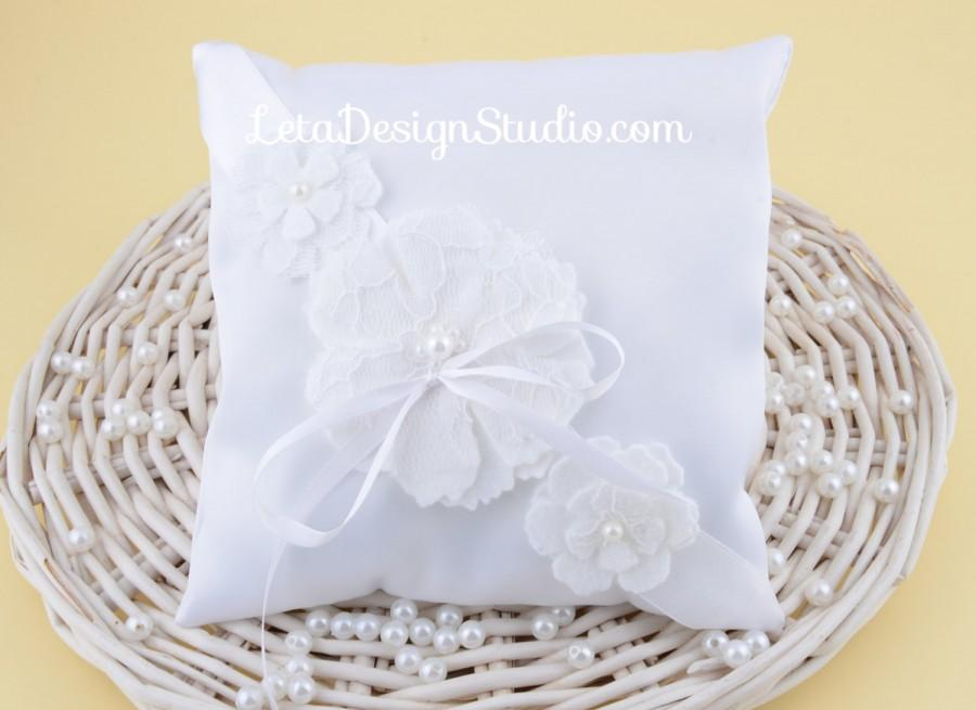Ring Bearer Pillow With Handmade Flower Made From Felt And Lace ...