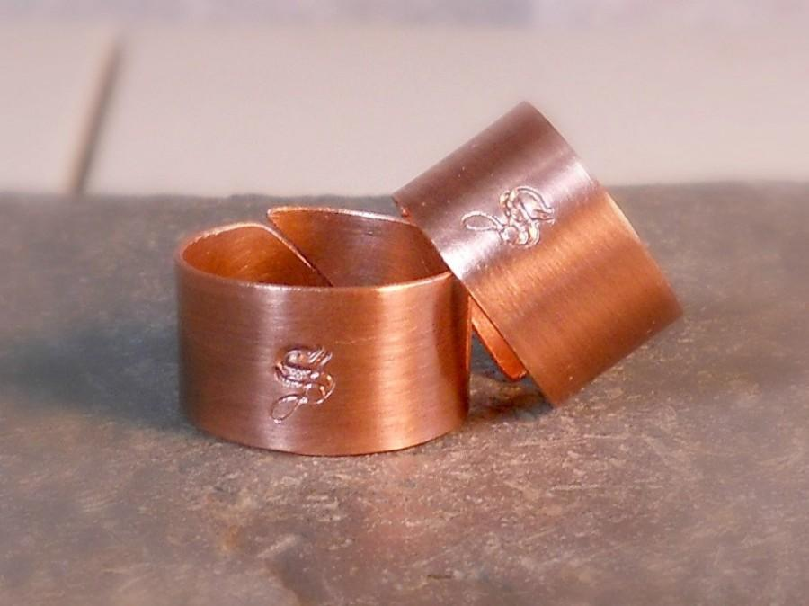 Wedding - Rustic Copper Wedding Rings Set of TWO Personalized Monogram Rings For Him For Her Couple's Jewelry