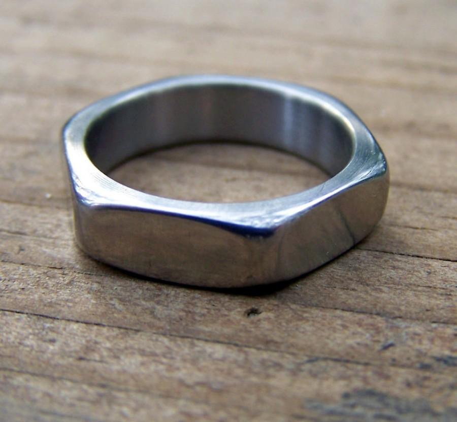 Titanium Ring, Hardware Ring, Hexagonal Ring, Wedding Ring