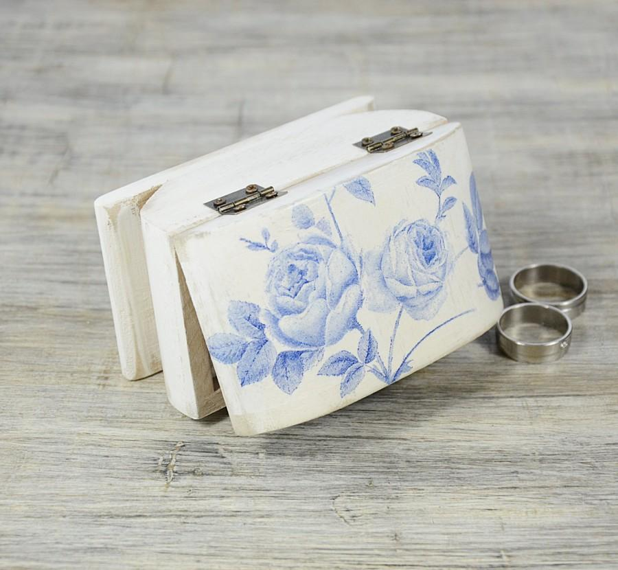 Shabby Chic Pillow Boxes : Blue Rose Ring Bearer Box, White Blue Wedding Ring Bearer Pillow, Shabby Chic Ring Box, Ring ...