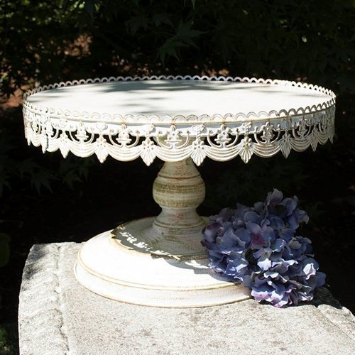 "Свадьба - 16"" Shabby chic metal cake stand/Gorgeous white distressed pedestal cake"