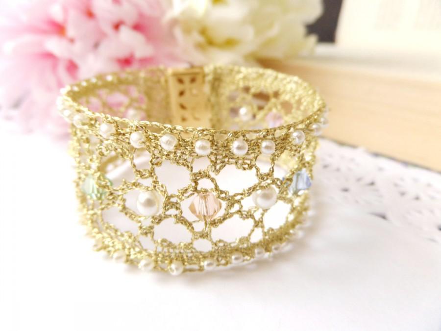 Hochzeit - Gold Bridal Cuff Bracelet Crystal Wedding Jewelry Pearl Bridal Cuffs Swarovski Wedding Cuff Lace Gold Cuff Bracelet Bridal Wedding Bracelets