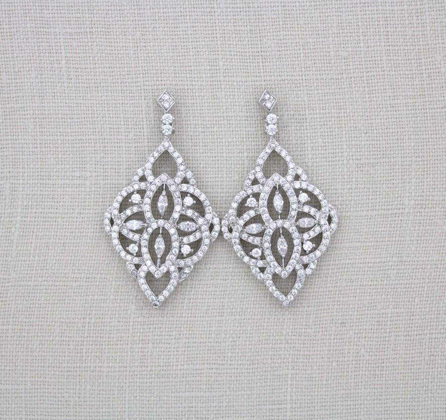 Hochzeit - Crystal Bridal earrings, Swarovski Wedding earrings, Bridal jewelry, Chandelier earrings, Art deco earrings, CZ earrings, Vintage EMILY