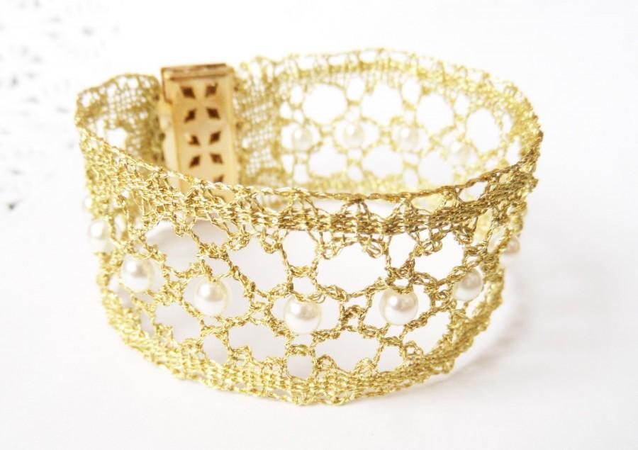 Hochzeit - Gold Bracelet with Pearls Gold Bridal Bracelet Pearl Bridal Jewelry Wedding Bracelet Gold Pearl Bracelet Bridesmaid Bracelet Gift for Fiance