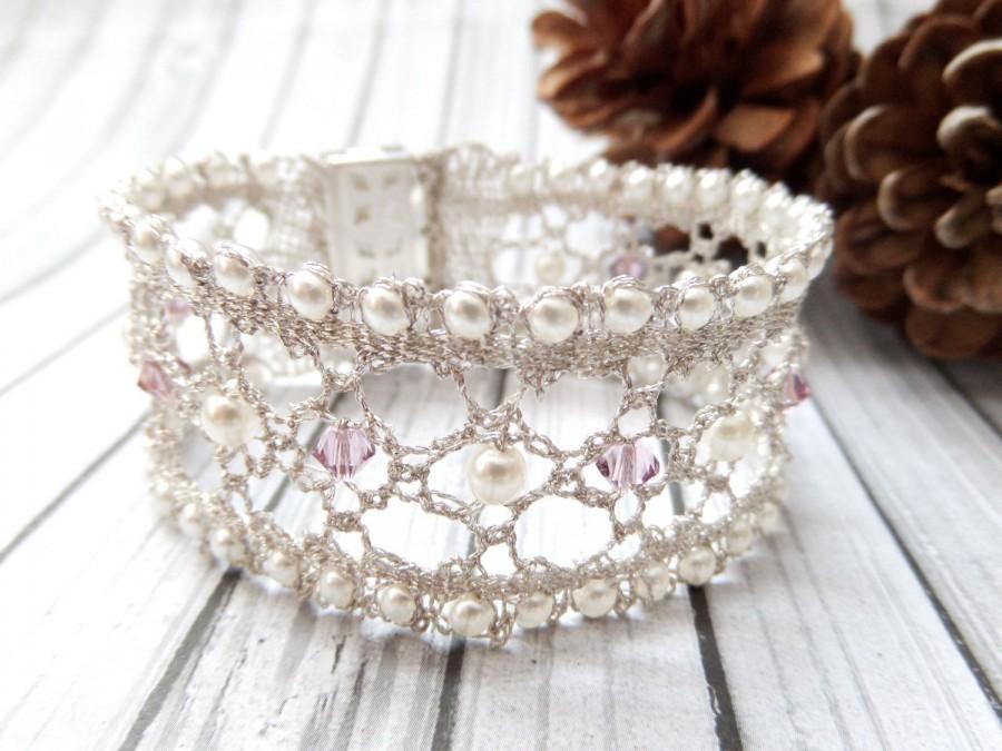 Wedding - Pearl Lace Bracelet Silver Bridal Bracelet Wedding Bracelet Cuff Wedding Lace Bracelet Bridal Jewelry Pearl Lace Cuffs Bridal Cuff Bracelets
