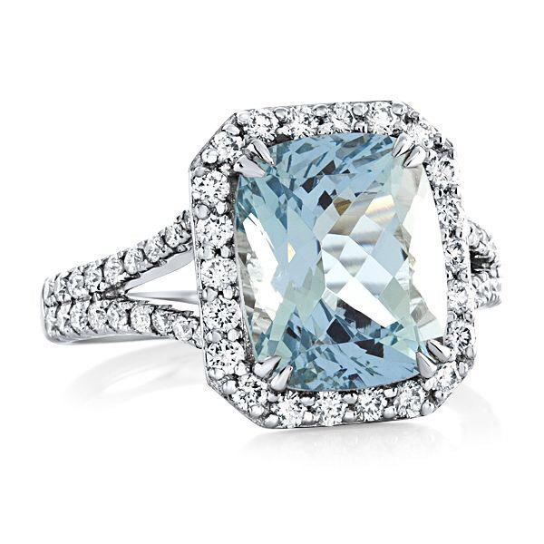Hochzeit - Aquamarine & Genuine Diamond Engagement Ring 9X11mm Cushion Genuine Aquamarine Split Shank 18kt White Gold Ring Pristine Custom Rings
