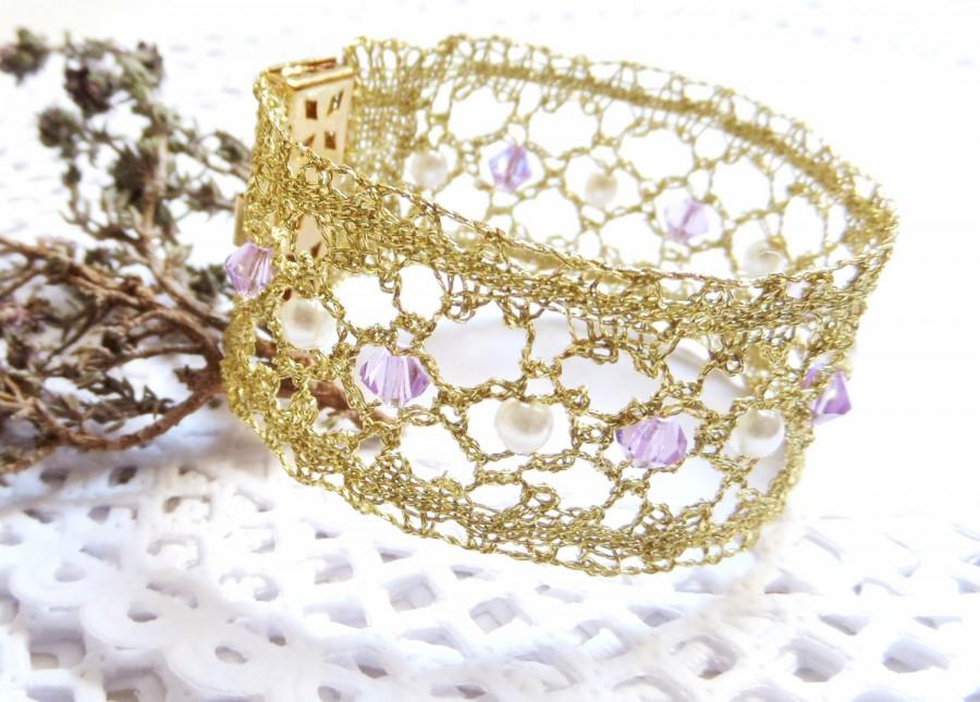 Lace Wrist Cuff Knit Jewelry Lace Cuff Wire Knit Crochet Jewelry ...