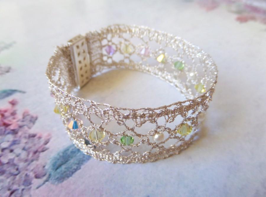 Hochzeit - Pearl Wrist Cuff Swarovski Bracelet Lace Cuff Silver Bridal Bracelet Lace Bridal Cuff Silver Lace Jewelry Lace Bridal Bracelet Lace Bracelet
