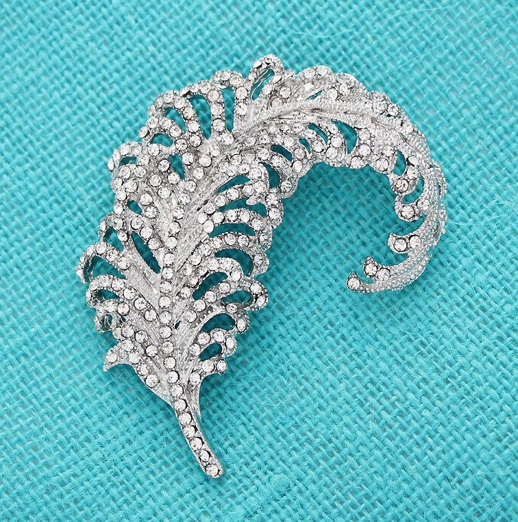 Hochzeit - Crystal Silver Feather Brooch Gatsby Wedding Bridal Sash Clutch Cake Bouquet Brooches DIY Crafts Jewelry Rhinestone Silver Broaches