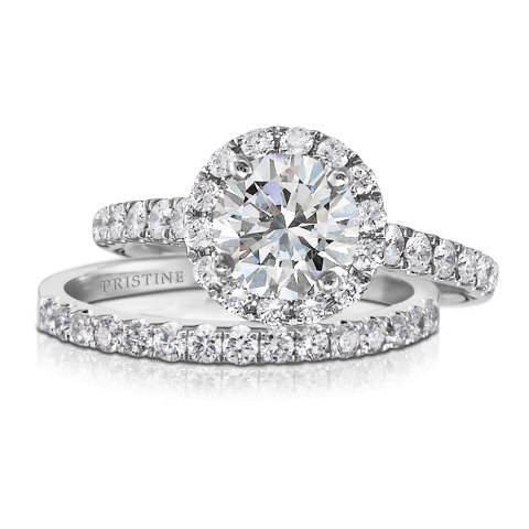 زفاف - Moissanite & Diamond Engagement Set 18kt Gold Round Forever Brilliant Moissanite Round Halo Engagement Ring With Matching Diamond Band
