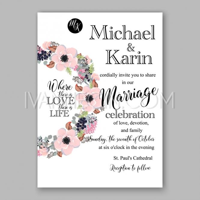 Mariage - Wedding Invitation Floral Bridal Wreath with pink flowers Anemone - Unique vector illustrations, christmas cards, wedding invitations, images and photos by Ivan Negin
