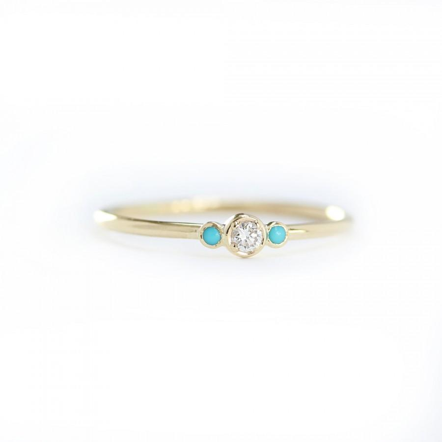 Mariage - 14k Solid Gold Diamond With Natural Turquoise Engagement Ring, Stackable Dainty Ring, Simple Skinny Ring