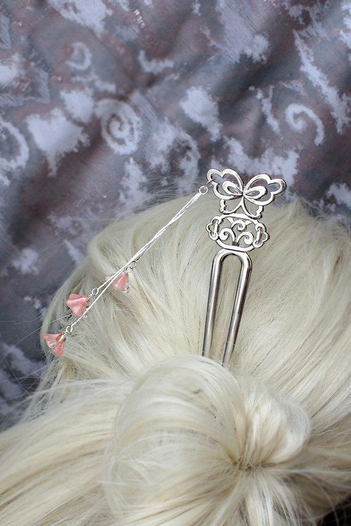 Wedding - hair fork pink hair jewelry rustic wedding pink hair decor silver hair stick flower girl gifts for her wedding hair bridesmaids gifts h18
