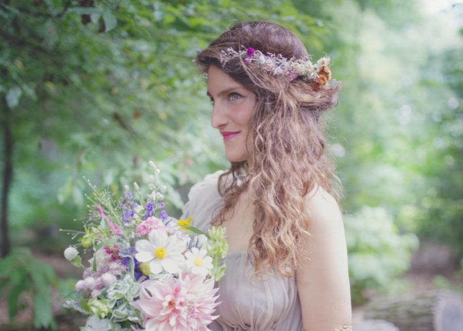 Dried Flowers Goddess Headband Boho Chic Bridal Hair Accessories Wedding Crown Floral Tiara Back Whimsical Rustic Real
