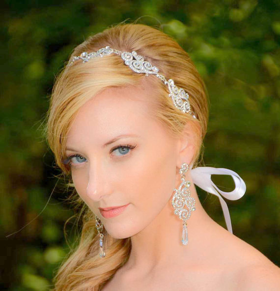 Wedding - Bridal Hair Accessories - Bridal Headband – Silver Crystal Cubic Zirconia Tiara - Rhinestone Headband Ribbon - Wedding Headpiece - Vivian