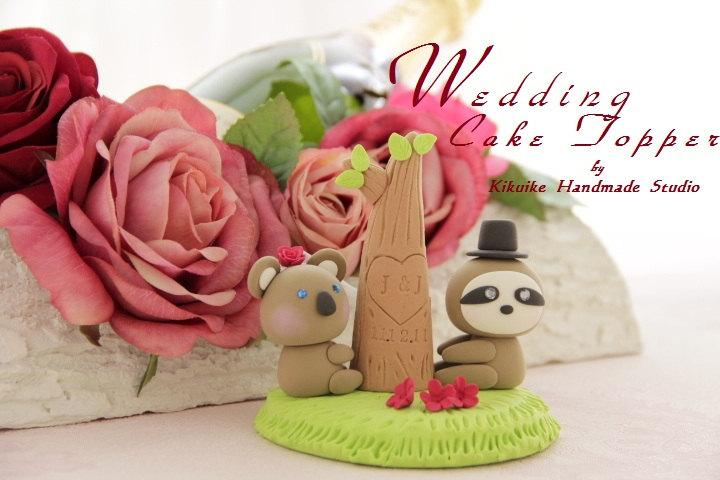 Свадьба - Koala and Sloth with tree, wedding cake topper---k766