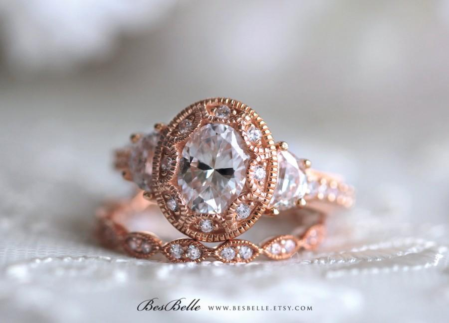 Mariage - Art Deco Bridal Set Ring-Oval Cut Diamond Simulant-Engagement Ring W/ All Eternity Ring-Rose Gold Plated-Solid Sterling Silver [65039RG-2]