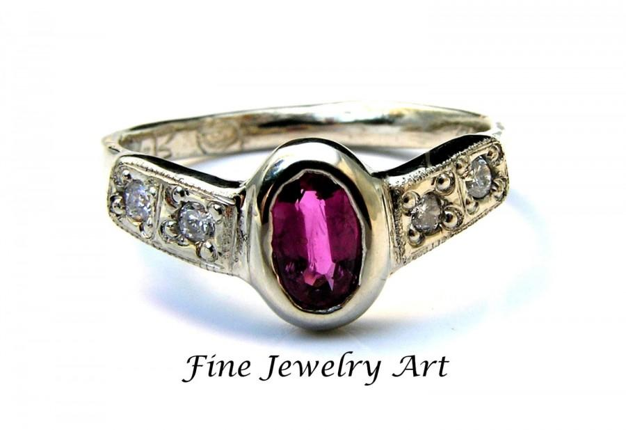 Hochzeit - Unique Ruby Engagement Ring Handmade 14k White Gold With Diamonds - Custom Bezel Set Oval Ruby Four Bead Set Diamonds Lacey Flow Ring Design