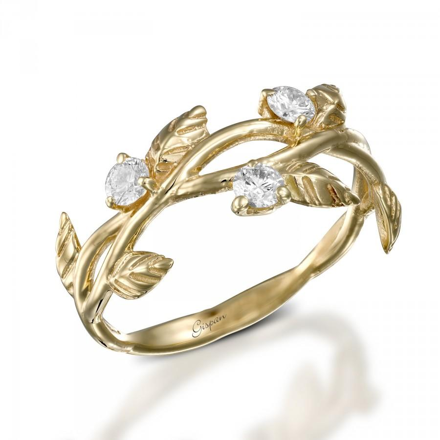 Leaves Engagement Ring Art Deco Engagement Ring 14k Yellow