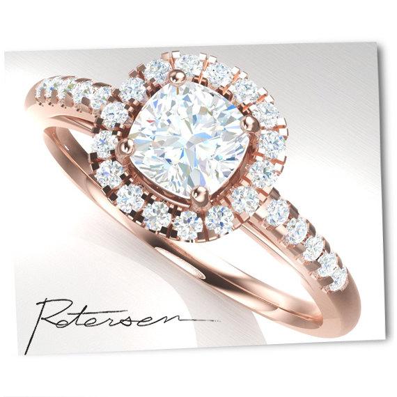 زفاف - Rose Gold Engagement Ring - Cushion Cut Halo Ring - Art Deco Ring - Promise Ring - Vintage Ring - Wedding Ring - Sterling Silver