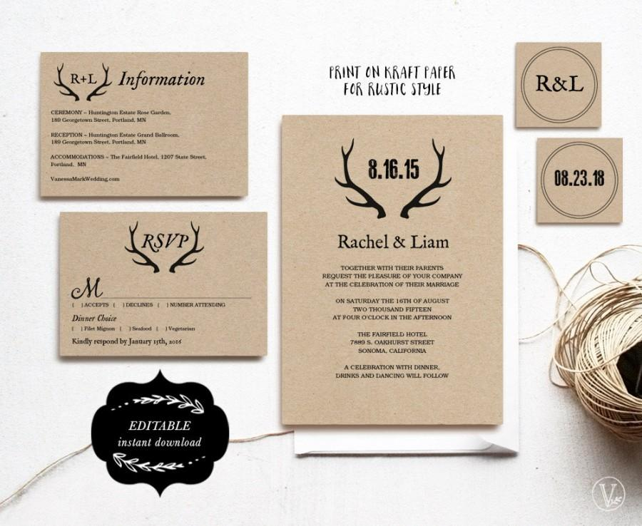 Printable Wedding Invitations DIY Wedding Invitation Template - Wedding invitation templates: wedding invitation suite templates