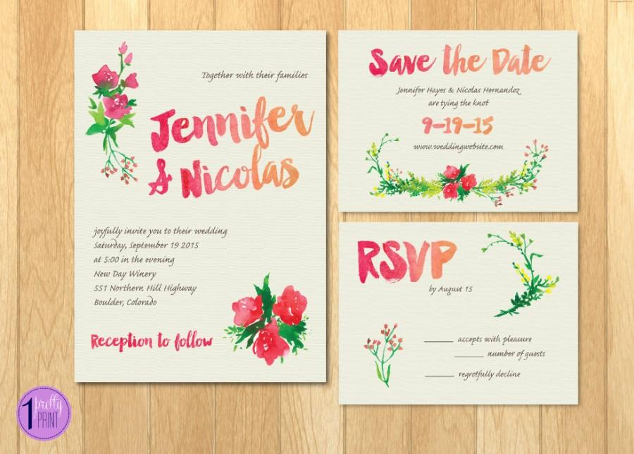 Hochzeit - Floral Watercolor Wedding Invitation Set (Digital or Printed!)