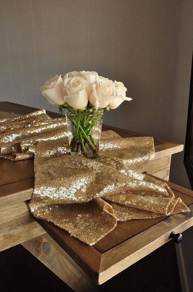 Свадьба - Champage Gold Table Runner.  Ships in 2-5 Business Days.  Sequin Table Runner. Wedding Table Runner.
