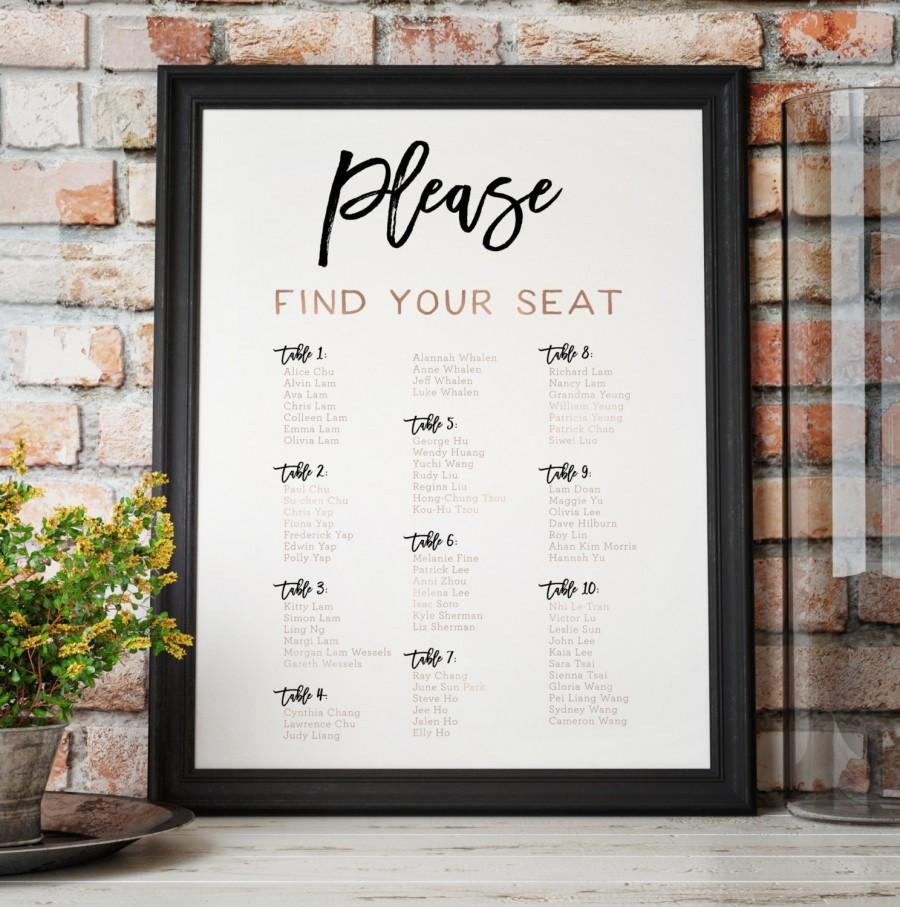 Hochzeit - Rose Gold Seating Chart - Wedding Seating Chart in Rose Gold - The Penny Set