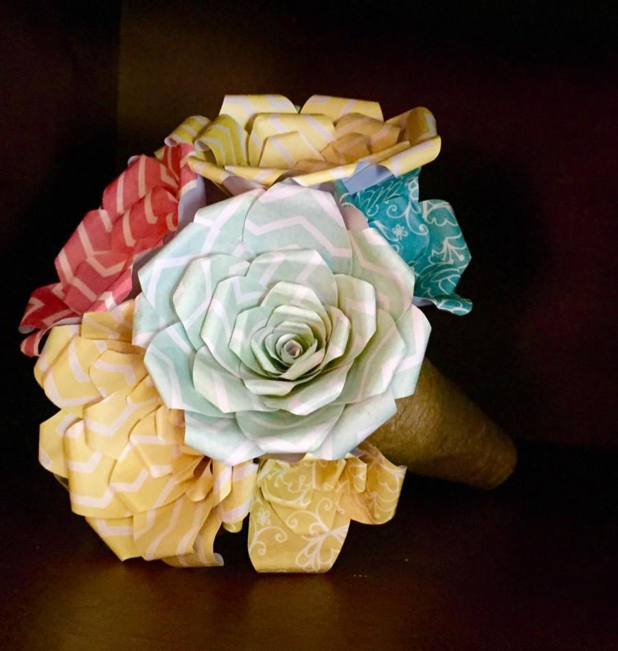 Hochzeit - Colorful Rustic Paper Flower Wedding Bouquet! (hand made)