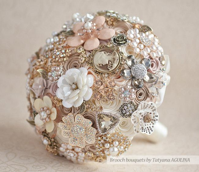 Vintage Brooch Bouquet Ivory And Champagne Wedding Jeweled Quinceanera Keepsake