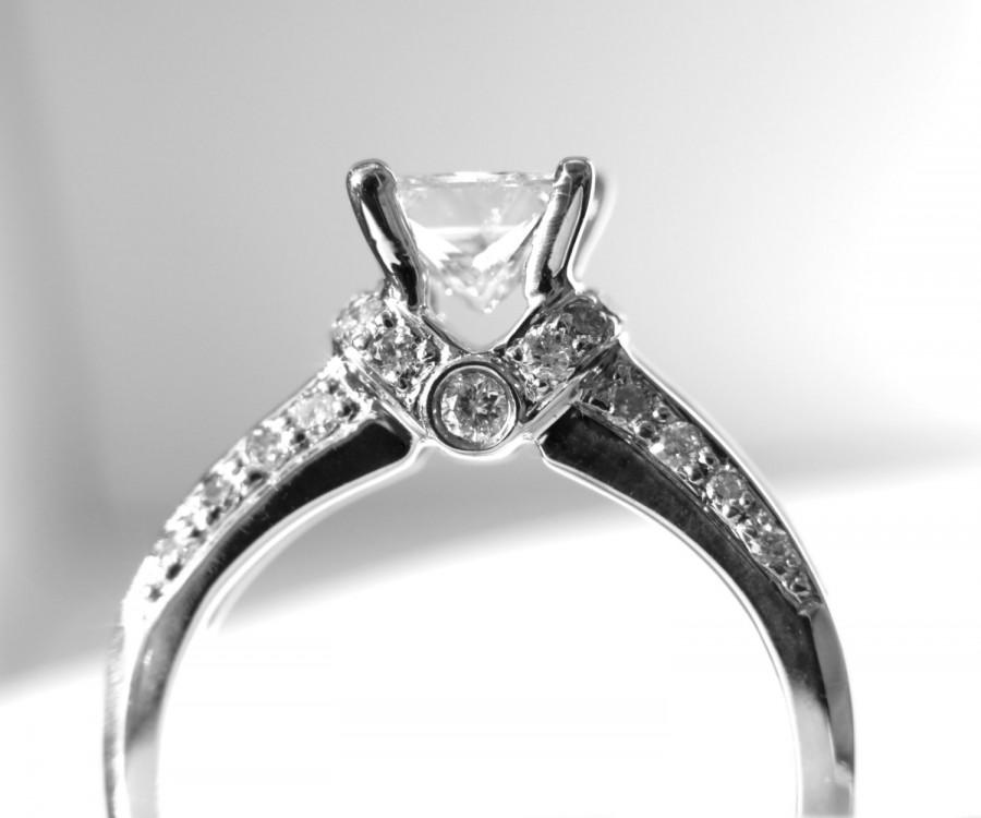 زفاف - Princess Cut 14k white gold Diamond Engagement Ring - 1.70 carat - weddings - Channel set - Round - custom made - Bp030