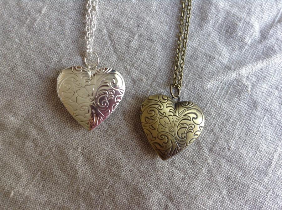 زفاف - Heart Locket, Photo Locket, Mother's Day Gift, vintage style locket