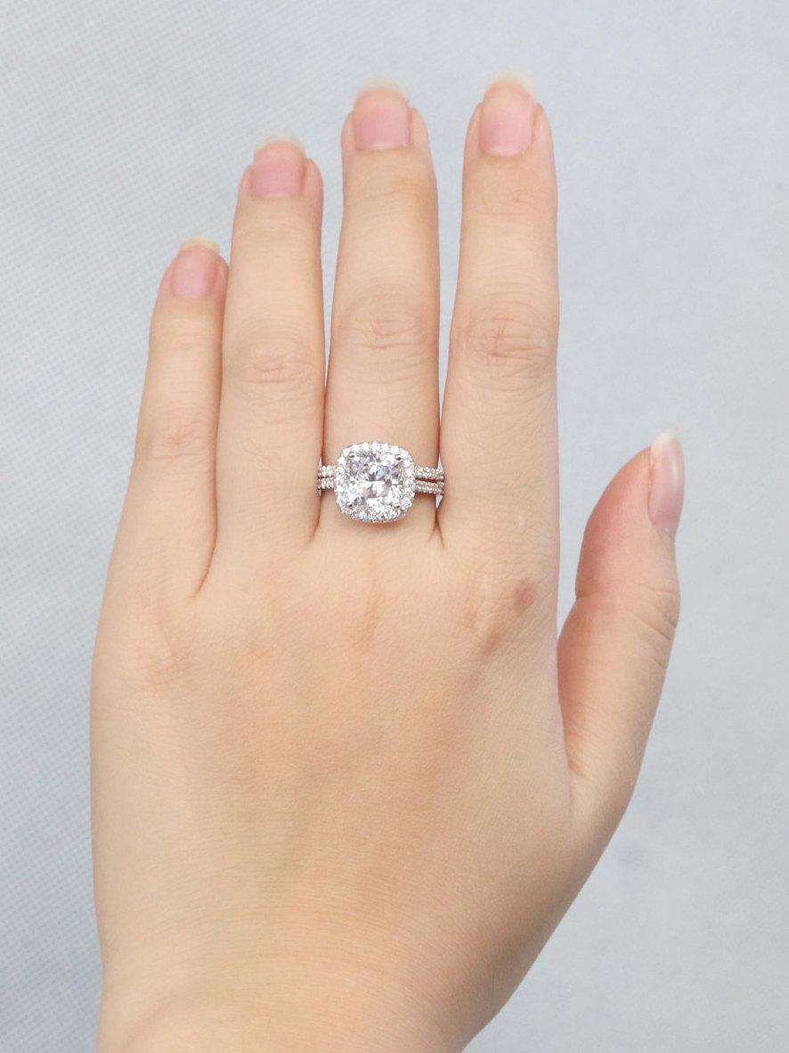 زفاف - 3 Ct Halo Cushion Cut Engagement Ring, Wedding Ring Set, Man Made Diamond Stimulant CZ in 925 silver, Pave Band, Promise Ring, Cocktail Ring
