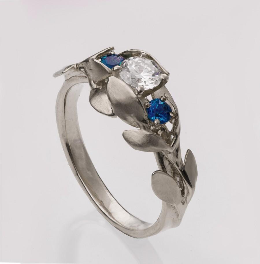 زفاف - Leaves Engagement Ring No. 8 - 14K White Gold and Moissanite engagement ring, 3 Stone Ring, Three stone ring,  moissanite engagement ring