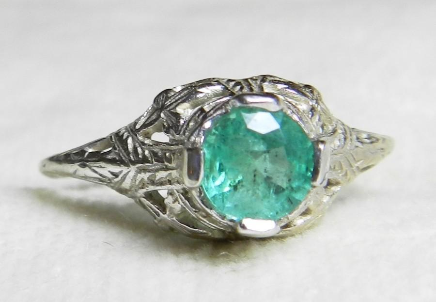 Emerald Ring 14K White Gold Emerald Engagement Ring Colombian