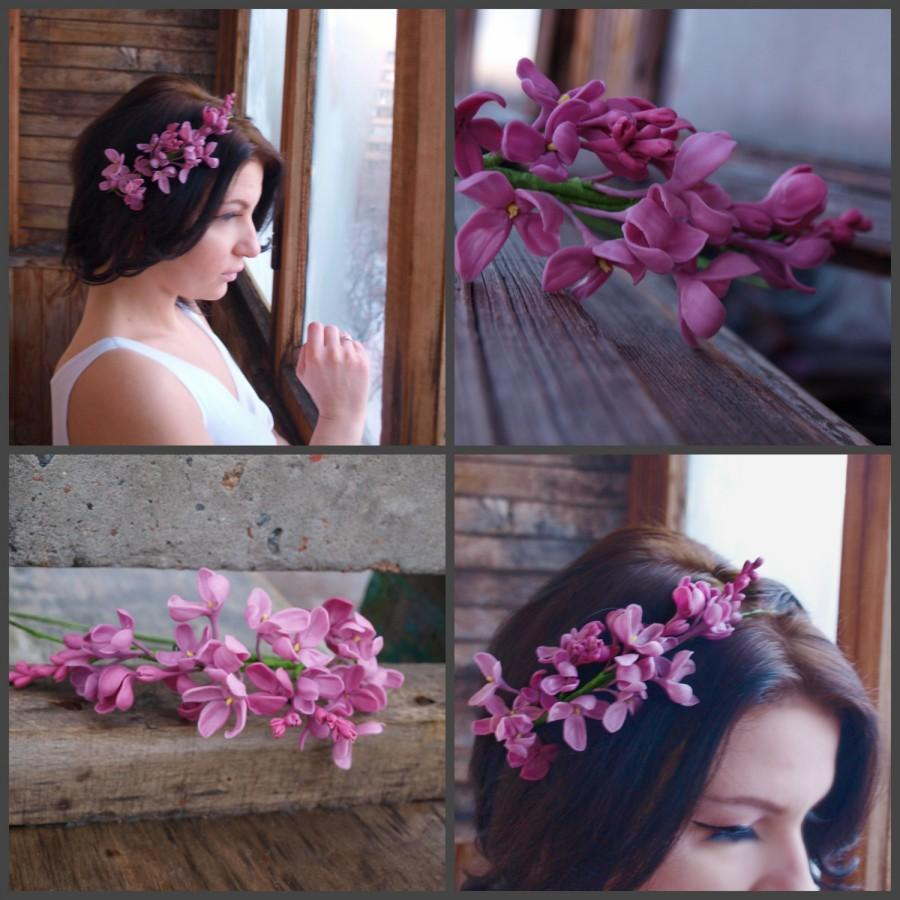 Mariage - Lilac Flower Crown Floral Headband  ,lilack Romantic, violet headband