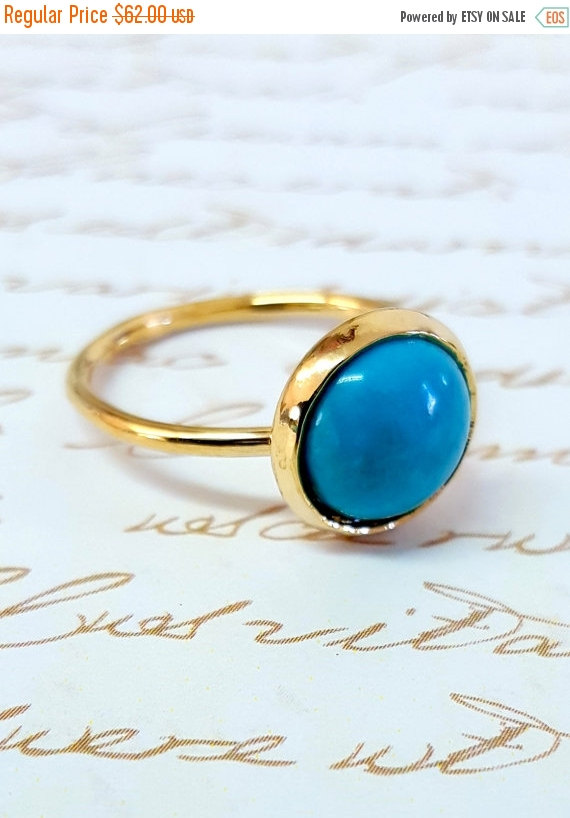 زفاف - Holiday Sale - Gold Ring, Turquoise Ring, Gold Turquoise Ring, Stone Ring, Delicate Ring, December Birthstone Ring, Gemstone Ring, Something