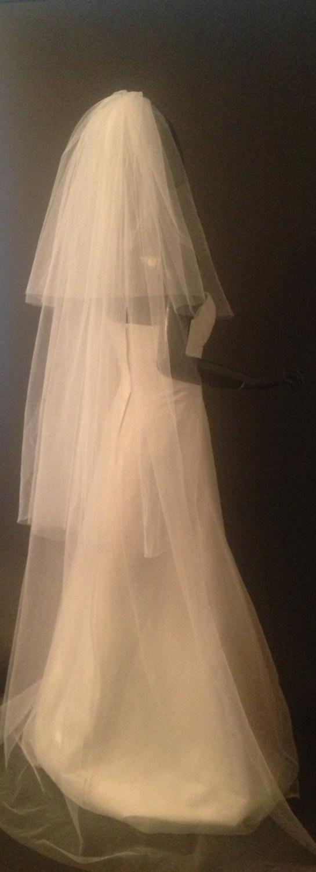 Hochzeit - Long wedding veil from 3 tires.wedding ivory veil, wedding white veil.