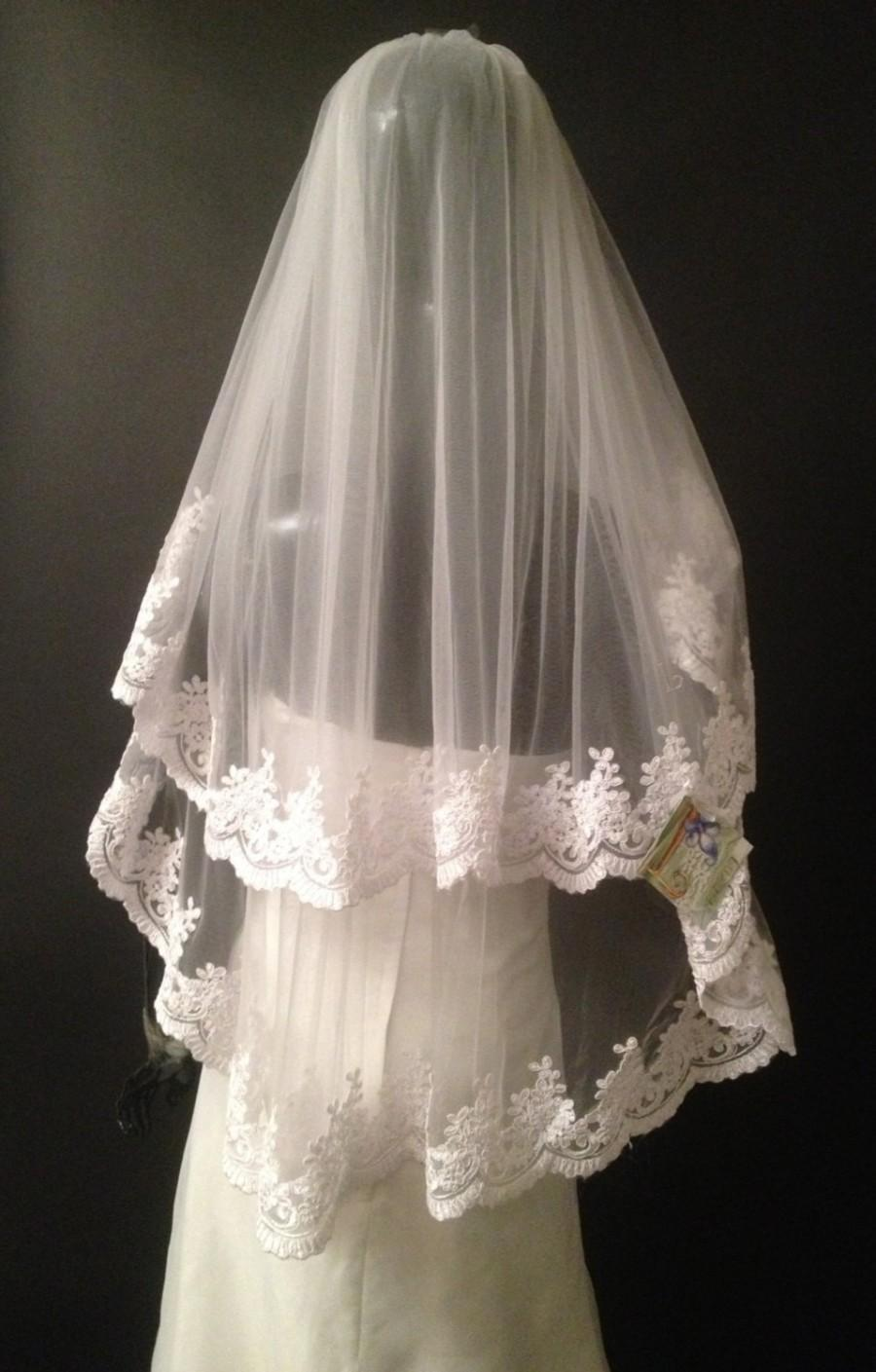 Hochzeit - Wedding alencon lace veil. Bridal white veil, ivory veil. Cathedral headpiece.