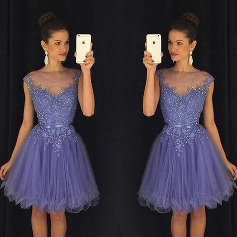 Mariage - Cheap Bateau Cap Sleeves Short Homecoming Dress with Appliques Under 100 from Dressywomen