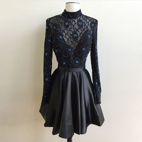 Mariage - Generous High Neck Long Sleeves Open Back Short Black Homecoming Dress with Beading Lace from Dressywomen