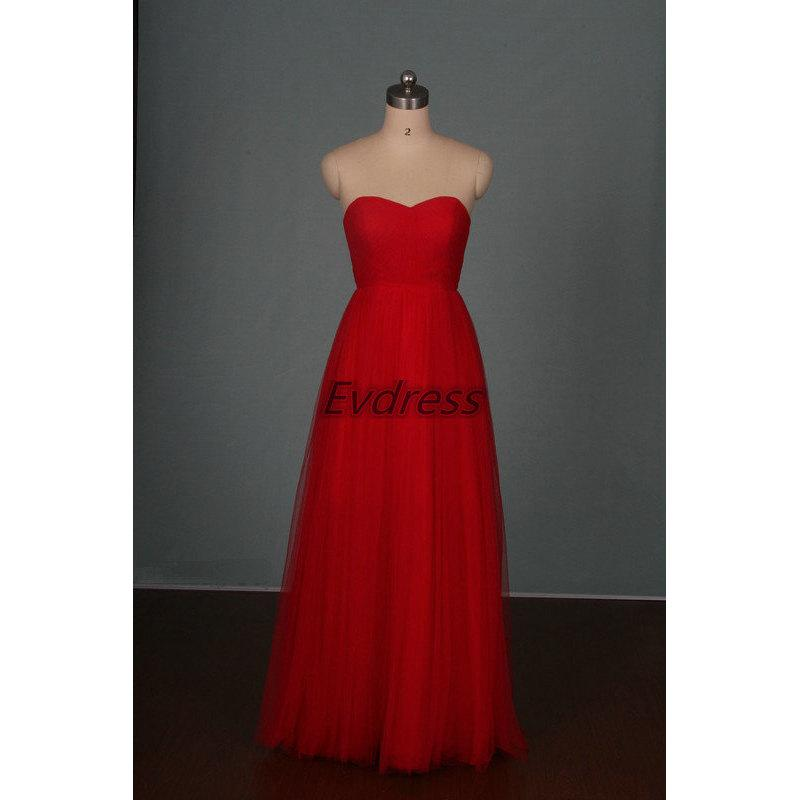 Boda - 2016 long red tulle bridesmaid gowns hot,cheap chic women dress for wedding party,elegant floor length bridesmaid dress on sale.