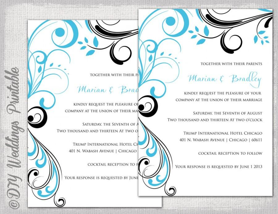"Hochzeit - Wedding invitation templates Turquoise and black ""Scroll"" printable invitation template Malibu blue and black YOU EDIT digital download"