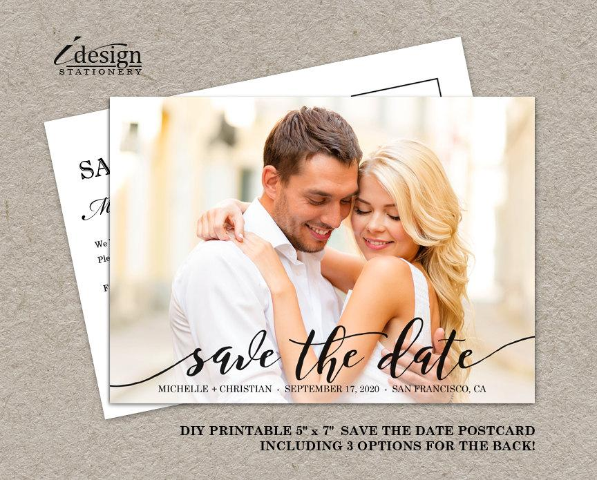 Wedding - Printable Photo Save The Date Postcard With Handwriting Font