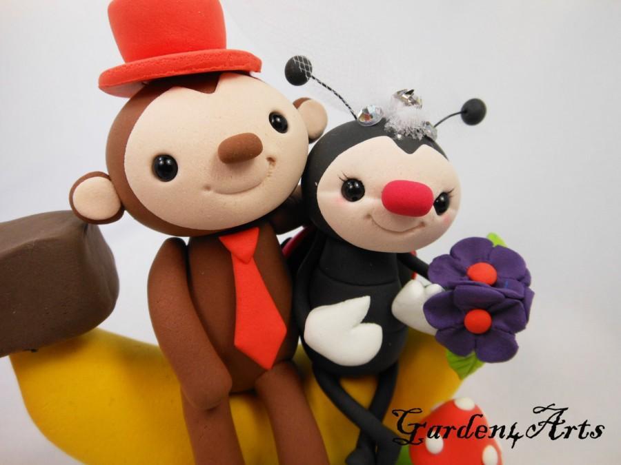 Wedding - Wedding Cake Topper--Customized Love Monkey & Ladybug Couple with Sweet Banana and Grass Base